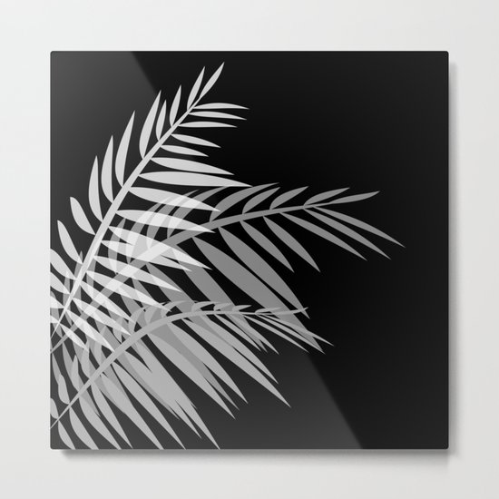 Palm leaves , black Metal Print