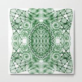 Jade Zentangle Tile Doodle Design Metal Print
