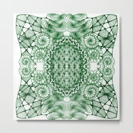 Jade Zentangle Tile Doodle Design Metal Print