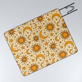 Vintage Sun and Star Print Picnic Blanket