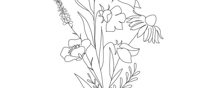 Small Wildflowers Minimalist Line Art Kaffeebecher