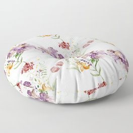 Rural Floral Pattern Spaced Out Floor Pillow