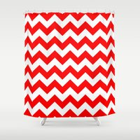 chevron Shower Curtains featuring Chevron (Red/White) by 10813 Apparel
