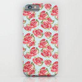 English Roses Blue Polka Dots iPhone Case