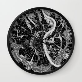 Cologne map black and white Wall Clock