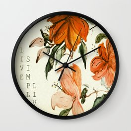 "Vintage Watercolor Hibiscus ""LIVE SIMPLY LIVE"" Wall Clock"