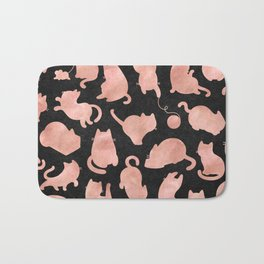 Rose Gold Pink Cats on Black Bath Mat