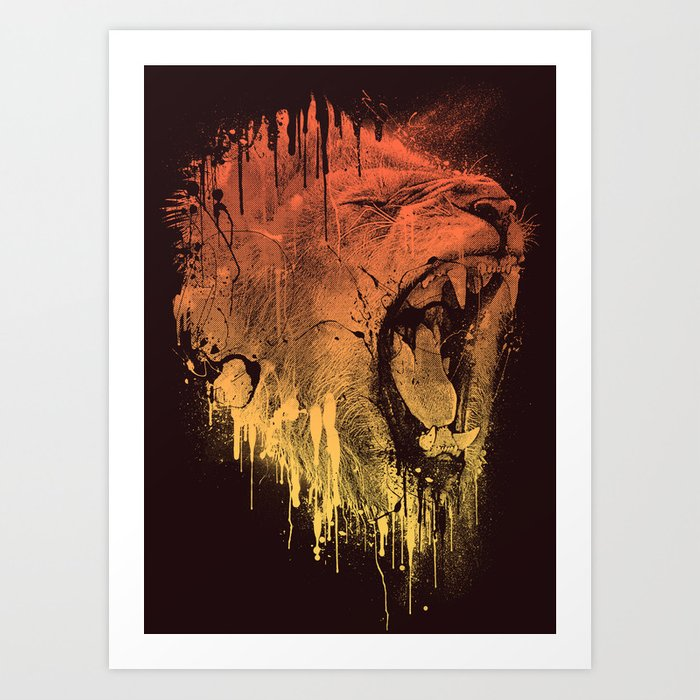 FIERCE LION Art Print