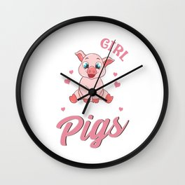 Adorable Just a Girl Who Loves Pigs Women Wall Clock
