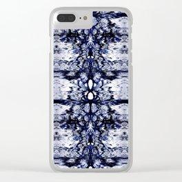 Modern Bohemian Indigo Blue Pattern Clear iPhone Case