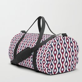 Ikat Stringed Beads Pattern – Navy Maroon Orchid Duffle Bag