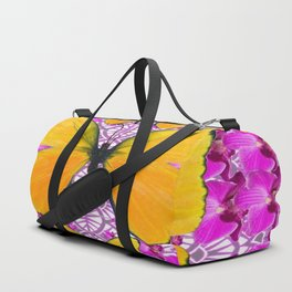 FUCHSIA COLORED  ORCHIDS &  YELLOW  BUTTERFLY FLORAL Duffle Bag