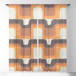 Mid-Century Modern Meets 1970s Orange Sheer Curtain