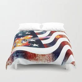 Country Music Guitar And American Flag By Annie Zeno  Duvet Cover