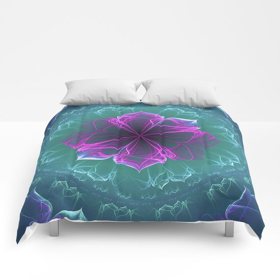 Ornate Blossom in Fuchsia Comforters