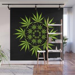 Cannabis Leaf Circle (Black) Wall Mural