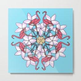 Flamingo Mandala Metal Print