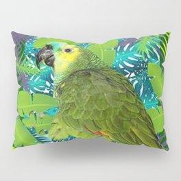 DECORATIVE GREEN PARROT JUNGLE GRAY-GREEN ART Pillow Sham