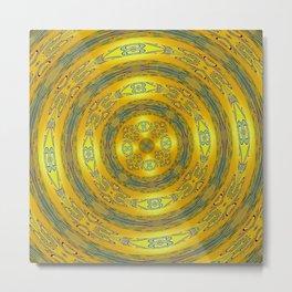 Yellow/Blue Manadala Metal Print