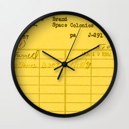 Library Card 797 Yellow Wall Clock