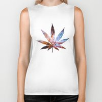 marijuana Biker Tanks featuring Marijuana Leaf - Design 2 by Spooky Dooky