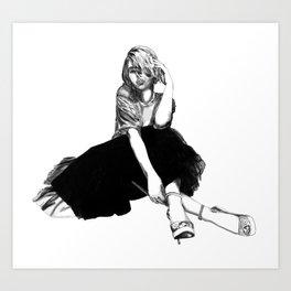 Scarlett Johansson (hand-drawn) Art Print