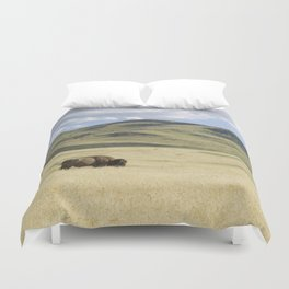 Being Alone is Healthy - Bison on Range Duvet Cover