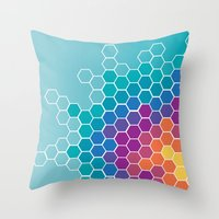 honeycomb Throw Pillows featuring Honeycomb by AleyshaKate