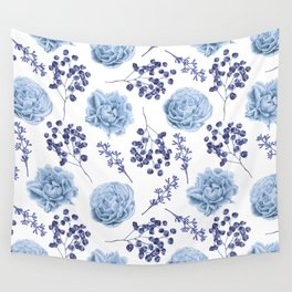Sky Blue Roses Wall Tapestry