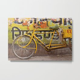 Yellow Bicycle Metal Print