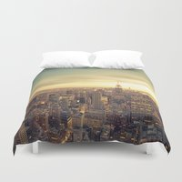 new york skyline Duvet Covers featuring New York Skyline Cityscape by Vivienne Gucwa