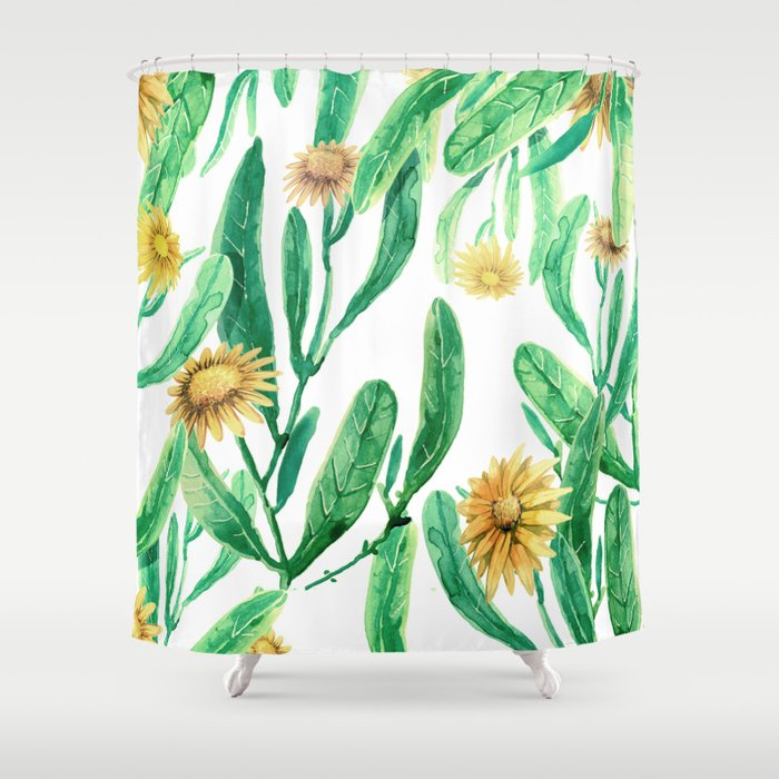 yellow flowers on sunny day Shower Curtain