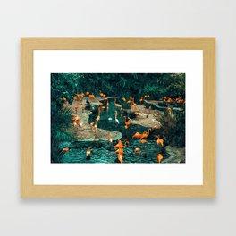 Flamingo Creek #flamingo #tropical #illustration Framed Art Print