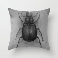 beetle Throw Pillows featuring Beetle by Salih Gonenli