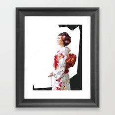 Polygonal Kimono girl 2 Framed Art Print