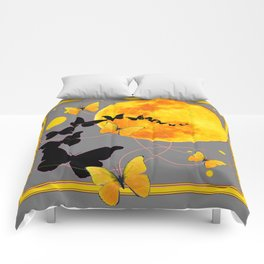 Butterfly Moon in Charcoal Grey Color Art Abstract Comforters