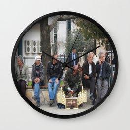 Man Polishing Leather Shoes Shoeshine On Street Mugla Turkey Wall Clock