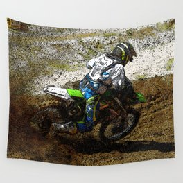 Round the Bend - Dirt-Bike Racing Wall Tapestry