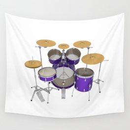 Purple Drum Kit Wall Tapestry