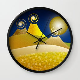 Fantasy Moonlit Mountains in Yellow Wall Clock