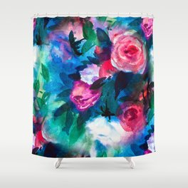 Watercolor Rose Medley with Sea Blue and Teal Shower Curtain