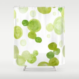 Abstract Green Watrcolor Circes Shower Curtain