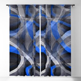 Eighties Themed Cool Blue Curved Line Pattern Blackout Curtain