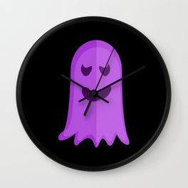 Sad Purple Ghost Wall Clock