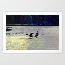 Twilight Kayaking Beach Lake, PA Art Print