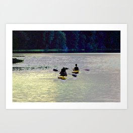 Twilight Kayaking Beach Lake, PA Art Print