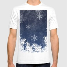 Winter white snow pine trees navy blue Christmas White Mens Fitted Tee MEDIUM
