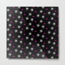Spiders & Webs-Black Pink Metal Print