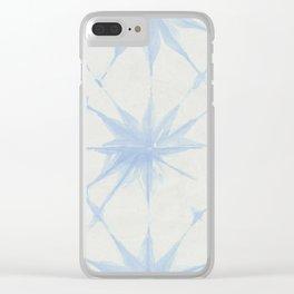 Shibori Starburst Sky Blue on Lunar Gray Clear iPhone Case
