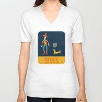 dachshund V-neck T-shirts featuring Dachshund by Ariel Wilson